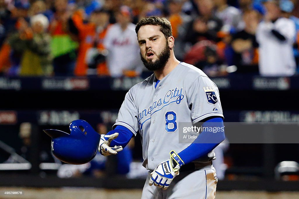 <a gi-track='captionPersonalityLinkClicked' href=/galleries/search?phrase=Mike+Moustakas&family=editorial&specificpeople=6780077 ng-click='$event.stopPropagation()'>Mike Moustakas</a> #8 of the Kansas City Royals reacts to striking out in the fourth inning against the New York Mets during Game Five of the 2015 World Series at Citi Field on November 1, 2015 in the Flushing neighborhood of the Queens borough of New York City.