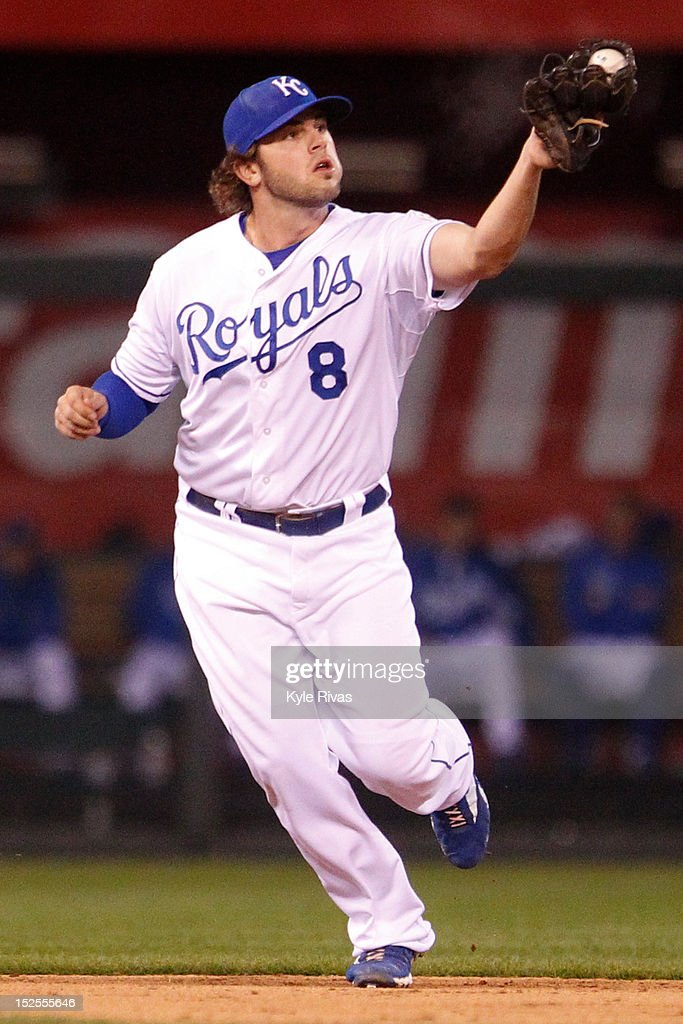 <a gi-track='captionPersonalityLinkClicked' href=/galleries/search?phrase=Mike+Moustakas&family=editorial&specificpeople=6780077 ng-click='$event.stopPropagation()'>Mike Moustakas</a> #8 of the Kansas City Royals secures a grounder from the Cleveland Indians in the seventh inning on Friday, September 21, 2012 at Kauffman Stadium in Kansas City, Missouri.