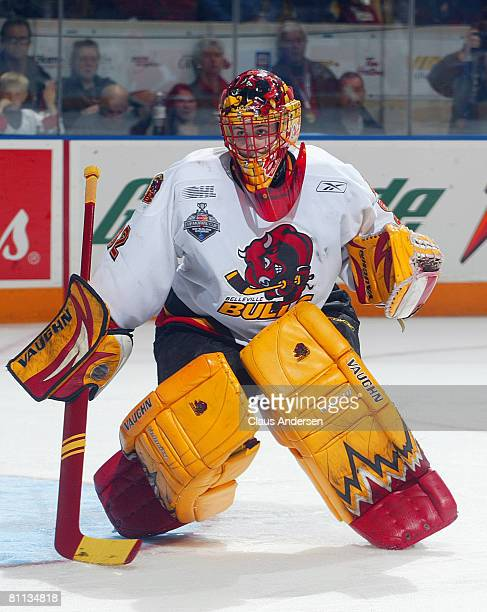 Mike Murphy of the Belleville Bulls keeps an eye on the play against the Spokane Chiefs in the second game of the Memorial Cup Championship on May 17...