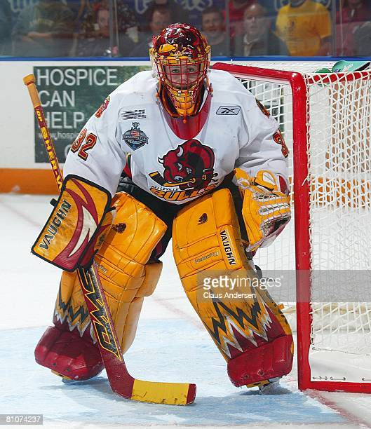 Mike Murphy of the Belleville Bulls waits for a shot in game 7 of the OHL Championship final against the Kitchener Rangers on May 12 2008 at the...