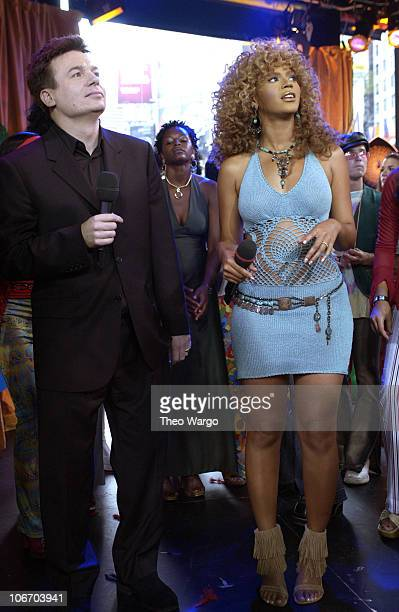 Mike Myers and Beyonce Knowles during Mike Myers and Beyonce Knowles Visit MTV's 'TRL' to promote 'Austin Powers in Goldmember' July 26 2002 at MTV...