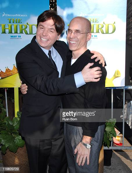 Mike Myers and Jeffrey Katzenberg Producer during 'Shrek the Third' New York City Screening Outside Arrivals at Clearview Chesea West Theatre in New...