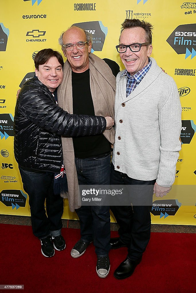 Mike Myers, Shep Gordon and <a gi-track='captionPersonalityLinkClicked' href=/galleries/search?phrase=Tom+Arnold&family=editorial&specificpeople=202506 ng-click='$event.stopPropagation()'>Tom Arnold</a> arrive for the premiere of the new film 'Supermensch' during the South By Southwest Film Festival on March 9, 2014 in Austin, Texas.