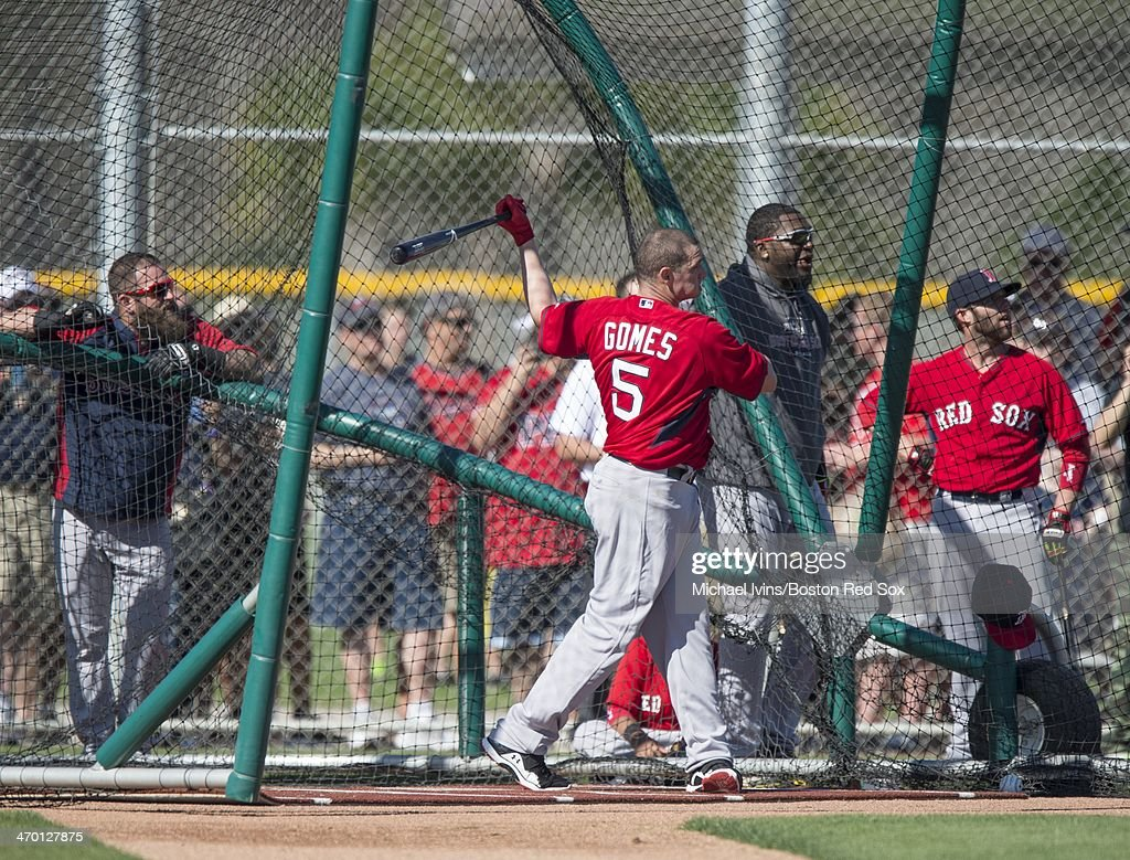 Mike Napoli #12, David Ortiz #34 and Dustin Pedroia #15 watch as <a gi-track='captionPersonalityLinkClicked' href=/galleries/search?phrase=Jonny+Gomes&family=editorial&specificpeople=568435 ng-click='$event.stopPropagation()'>Jonny Gomes</a> #5 takes batting practice during a Spring Training workout at Fenway South on February 18, 2014 in Fort Myers, Florida.