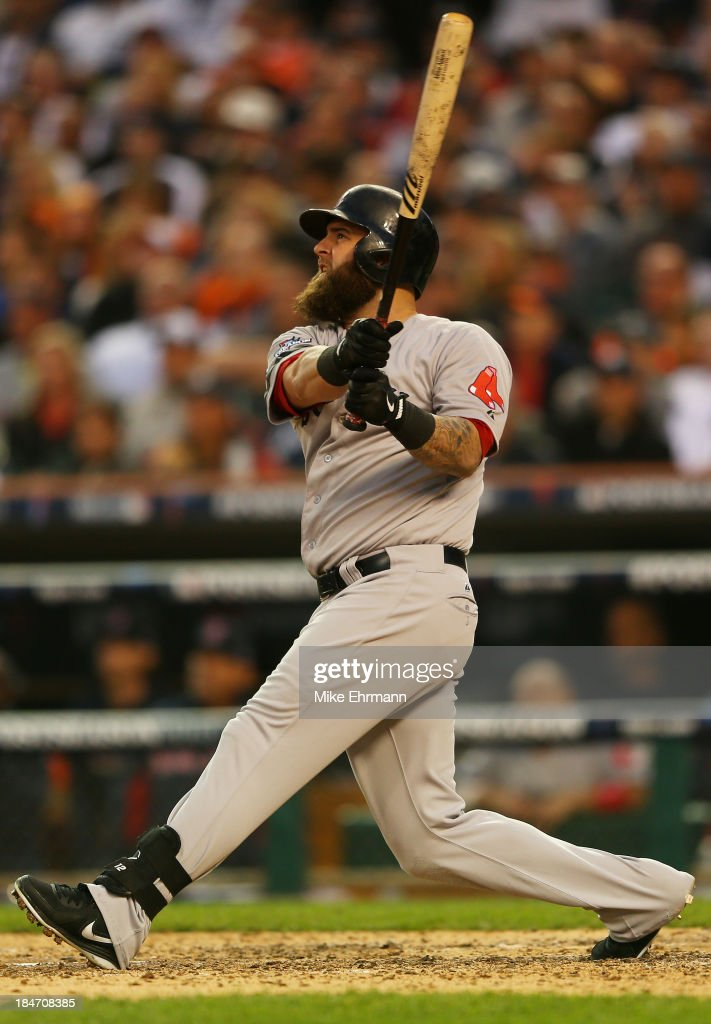 <a gi-track='captionPersonalityLinkClicked' href=/galleries/search?phrase=Mike+Napoli&family=editorial&specificpeople=525007 ng-click='$event.stopPropagation()'>Mike Napoli</a> #12 of the Boston Red Sox hits a seventh inning homerun against the Detroit Tigers during Game Three of the American League Championship Series at Comerica Park on October 15, 2013 in Detroit, Michigan.