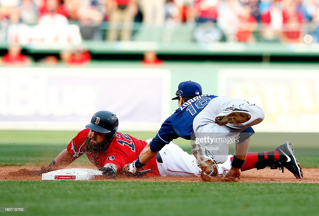 <a gi-track='captionPersonalityLinkClicked' href=/galleries/search?phrase=Mike+Napoli&family=editorial&specificpeople=525007 ng-click='$event.stopPropagation()'>Mike Napoli</a> #12 of the Boston Red Sox slides into second base as <a gi-track='captionPersonalityLinkClicked' href=/galleries/search?phrase=Ben+Zobrist&family=editorial&specificpeople=2120037 ng-click='$event.stopPropagation()'>Ben Zobrist</a> #18 of the Tampa Bay Rays tries to make the tag during Game One of the American League Division Series at Fenway Park on October 4, 2013 in Boston, Massachusetts.