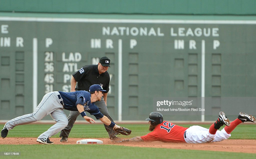 <a gi-track='captionPersonalityLinkClicked' href=/galleries/search?phrase=Mike+Napoli&family=editorial&specificpeople=525007 ng-click='$event.stopPropagation()'>Mike Napoli</a> #12 of the Boston Red Sox slides under a tag by <a gi-track='captionPersonalityLinkClicked' href=/galleries/search?phrase=Ben+Zobrist&family=editorial&specificpeople=2120037 ng-click='$event.stopPropagation()'>Ben Zobrist</a> #18 of the Tampa Bay Rays for a double during the fifth inning of game one of the American League Division Series on October 4, 2013 at Fenway Park in Boston, Massachusetts.