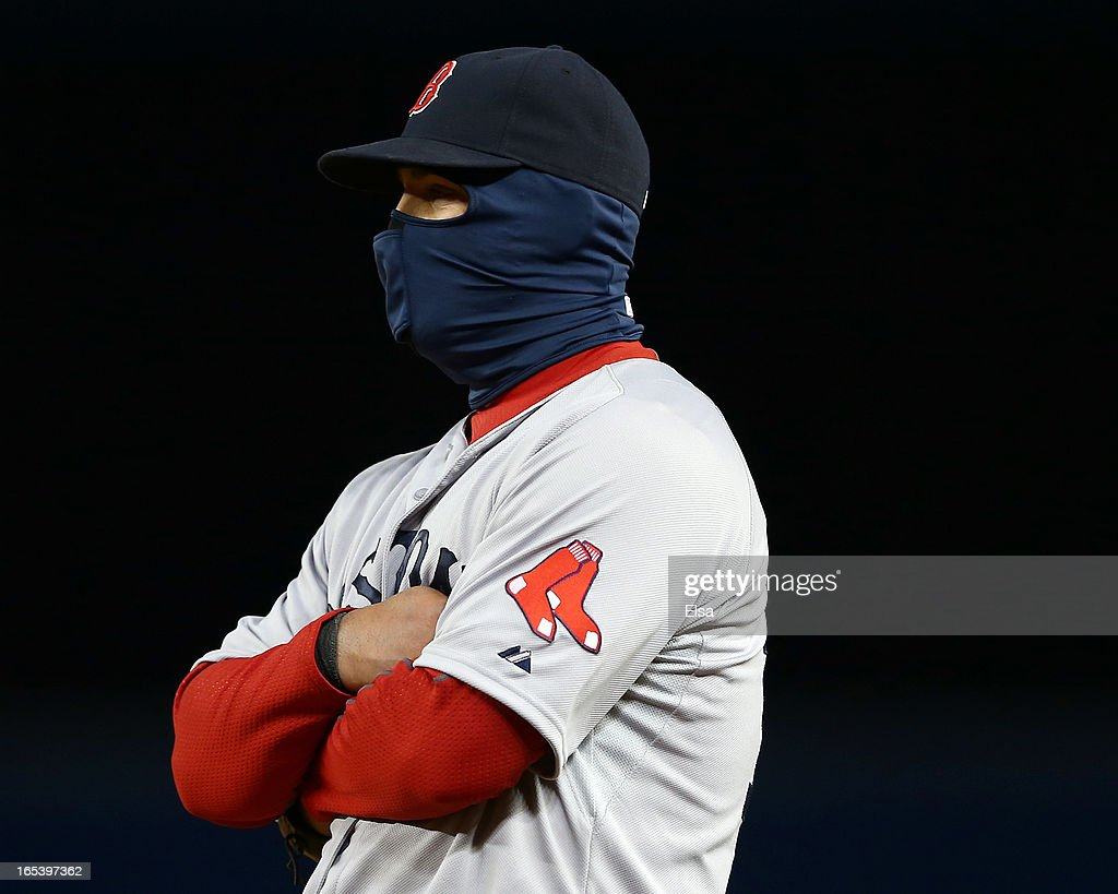 <a gi-track='captionPersonalityLinkClicked' href=/galleries/search?phrase=Mike+Napoli&family=editorial&specificpeople=525007 ng-click='$event.stopPropagation()'>Mike Napoli</a> #12 of the Boston Red Sox tries to stay warm during the eighth inning against the New York Yankees on April 3, 2013 at Yankee Stadium in the Bronx borough of New York City.