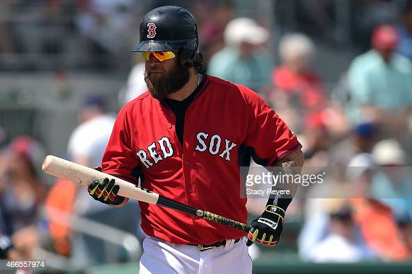 Mike Napoli of the Boston Red Sox waits for a pitch during a spring training game against the New York Mets at JetBlue Park at Fenway South on March...