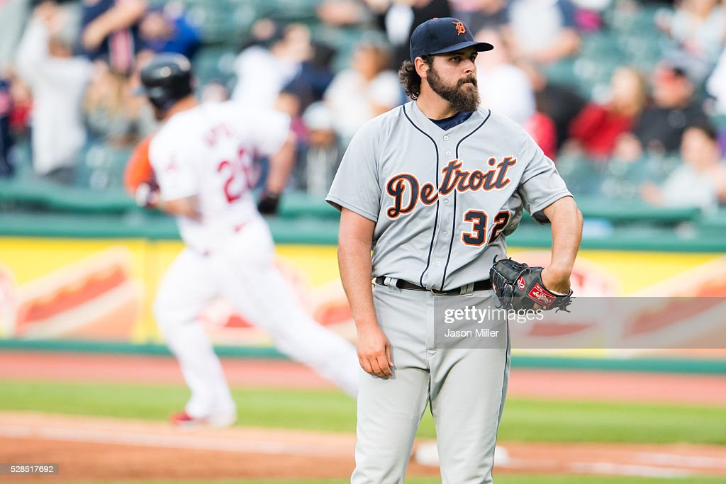 Mike Napoli #26 of the Cleveland Indians rounds the bases after hitting a three run home run off starting pitcher Michael Fulmer #32 of the Detroit Tigers during the first inning against the Detroit Tigers at Progressive Field on May 5, 2016 in Cleveland, Ohio.