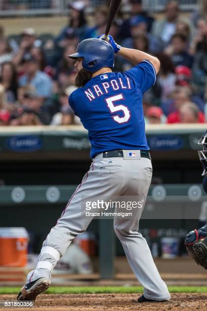 Mike Napoli of the Texas Rangers bats against the Minnesota Twins on August 5 2017 at Target Field in Minneapolis Minnesota The Rangers defeated the...