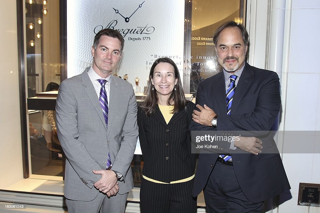 Mike Nelson brand Manager Breguet U.S , Curator Charissa Bremer-David and Frank Furlan President Swatch Group U.S attends 'Breguet The Innovator. Inventor Of The Tourbillion' Global traveling exhibition at Breguet Boutique on October 3, 2013 in Beverly Hills, California.