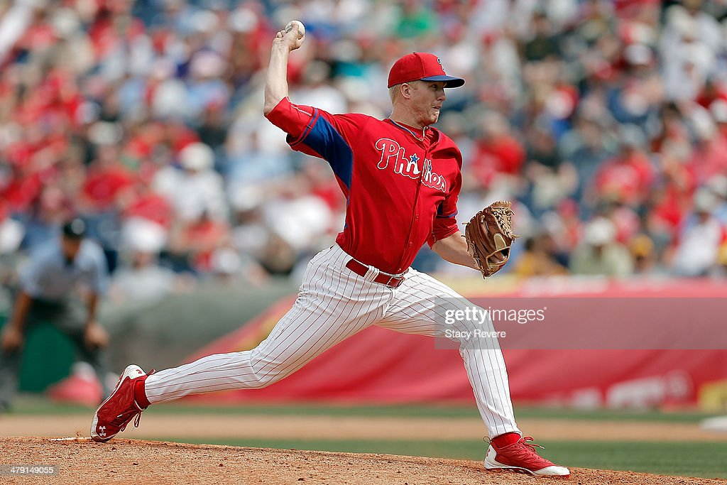 Mike Nesseth #44 of the Philadelphia Phillies throws a pitch in the seventh inning of a game against the Pittsburgh Pirates at Bright House Field on March 16, 2014 in Clearwater, Florida. Pittsburgh won the game 5-0.