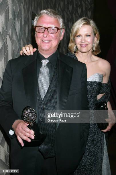 Mike Nichols and Diane Sawyer during 59th Annual Tony Awards After Party at Marriott Marquis in New York City New York United States