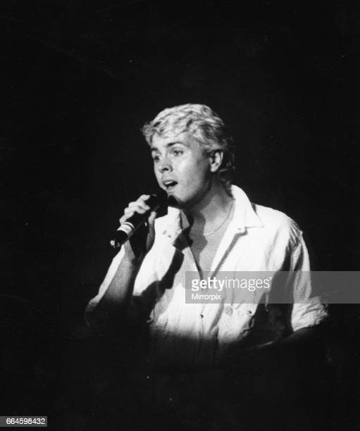 Mike Nolan of Bucks Fizz sings a solo during concert at the Night Out Birmingham 22nd May 1985