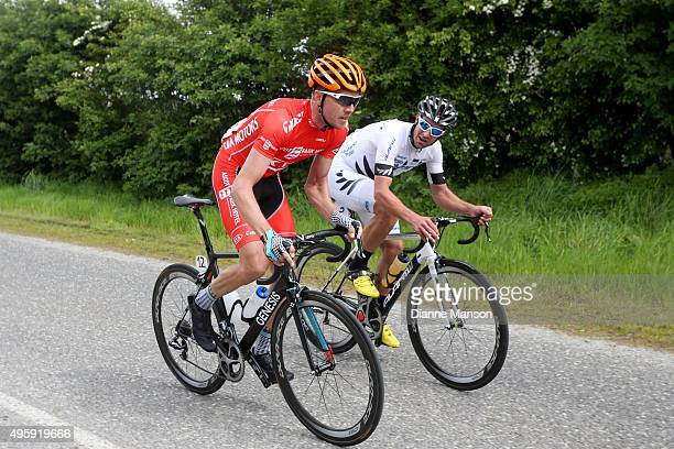 Mike Northey of North Shore and Joseph Cooper of Wellington chat as they head towards Gore during stage five of the Tour of Southland on November 6...