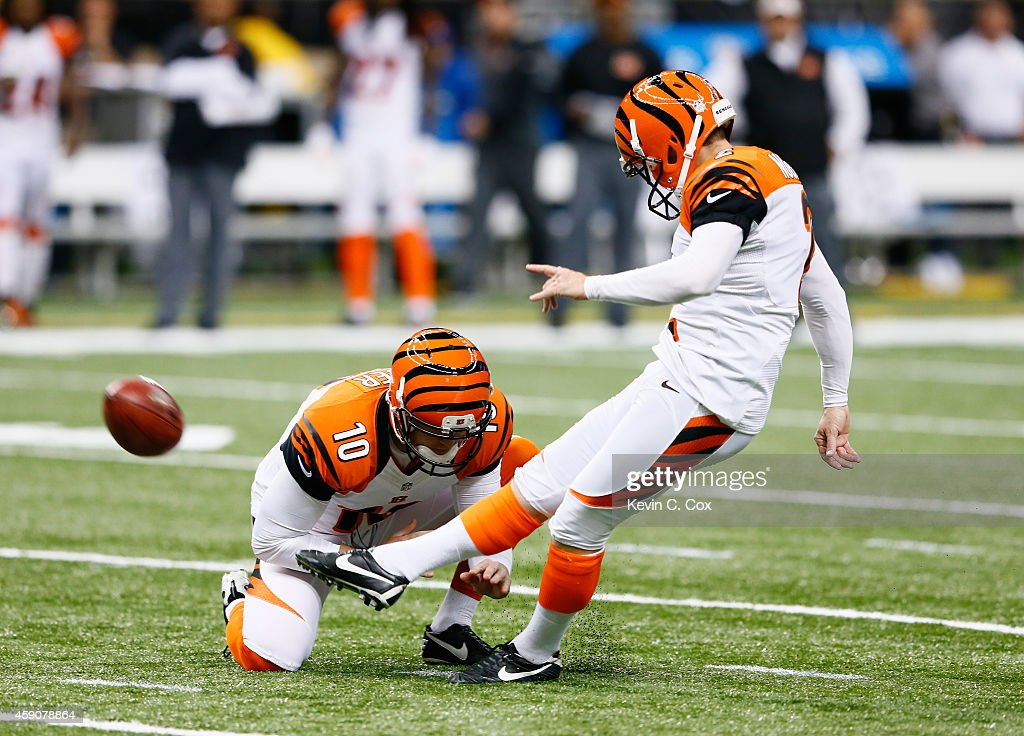 <a gi-track='captionPersonalityLinkClicked' href=/galleries/search?phrase=Mike+Nugent&family=editorial&specificpeople=2129451 ng-click='$event.stopPropagation()'>Mike Nugent</a> #2 of the Cincinnati Bengals kicks a field goal against the New Orleans Saints during the first quarter against the New Orleans Saints at Mercedes-Benz Superdome on November 16, 2014 in New Orleans, Louisiana.