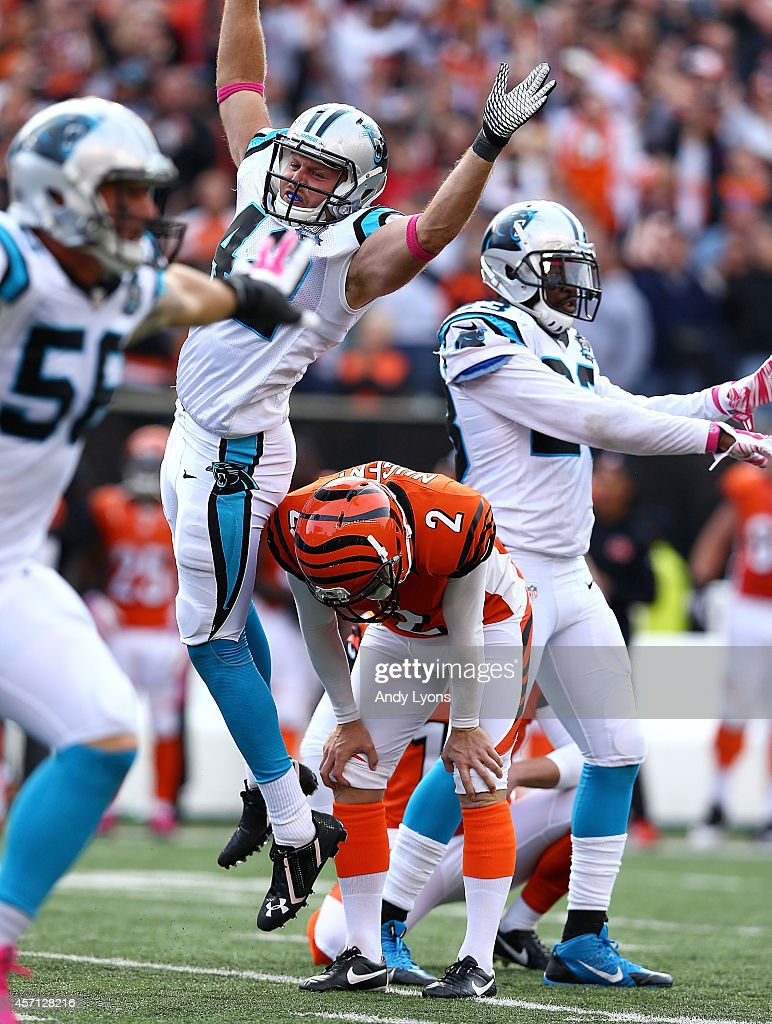 <a gi-track='captionPersonalityLinkClicked' href=/galleries/search?phrase=Mike+Nugent&family=editorial&specificpeople=2129451 ng-click='$event.stopPropagation()'>Mike Nugent</a> #2 of the Cincinnati Bengals reacts after missing what would have been a game-winning field goal during overtime against the Carolina Panthers at Paul Brown Stadium on October 12, 2014 in Cincinnati, Ohio. Cincinnati and Carolina tied 37-37.