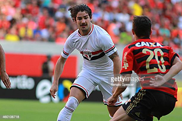 Mike of Sport Recife battles for the ball with Alexandre Pato of Sao Paulo during the Brasileirao Series A 2014 match between Sport Recife and Sao...