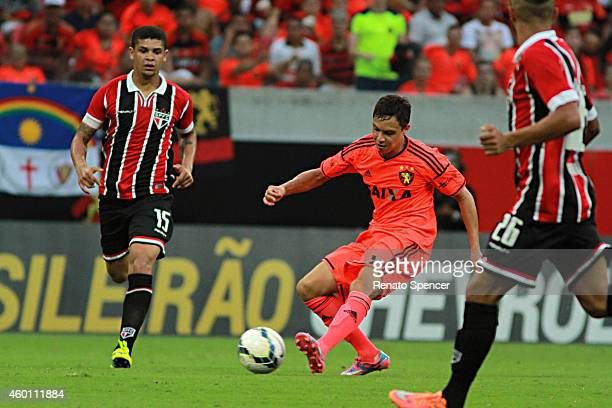 Mike of Sport Recife competes for the ball during the Brasileirao Series A 2014 match between Sport Recife and Sao Paulo at Arena Pernambuco Stadium...