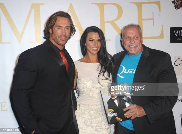 Mike O'Hearn Mona Muresan and Bruce Cardenas attend Amare Magazine Presents A Black Tie Event featuring cover model Mike O'Hearn held at Hangar 21 on...