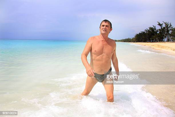 Mike Oldfield poses for a portrait session on vacation in the Bahamas on May 31 2009