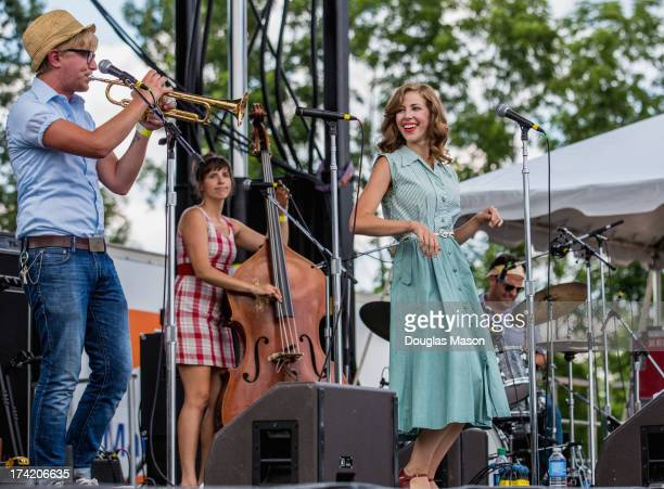 Mike Olson Bridget Kearney Rachael Price and Michael Calabrese of Lake Street Dive perform during day 2 of the Green River Music Festival 2013 at...