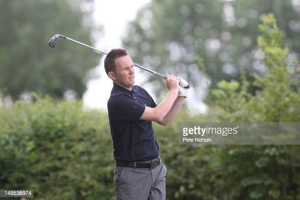 Mike Ovett of Hassocks Golf Club plays a tee shot on the 2nd tee during the Virgin Atlantic PGA National ProAm Championship Regional Final at...