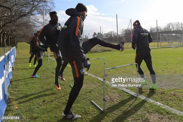Mike Owusu John Anthony Brooks and Marvin Plattenhardt of Hertha BSC during a training session on February 21 2017 in Berlin Germany