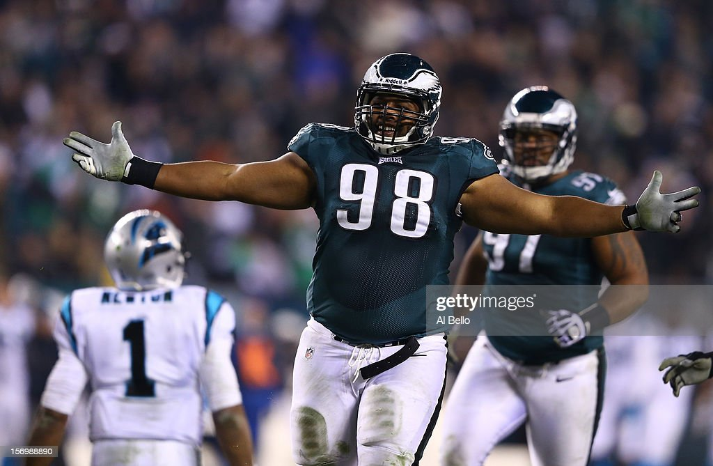Mike Patterson of the Philadelphia Eagles celebrates after sacking Cam Newton of the Carolina Panthers during their game at Lincoln Financial Field...