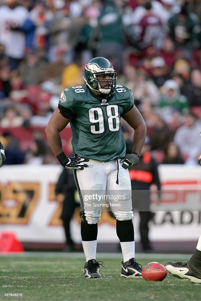 Mike Patterson of the Philadelphia Eagles standing on the field during a game against the Washington Redskins on December 10 2006 at FedEx Field in...