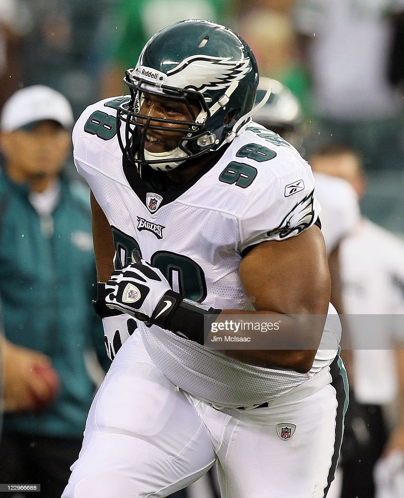 Mike Patterson of the Philadelphia Eagles warms up before playing against the Cleveland Browns during their pre season game on August 25 2011 at...