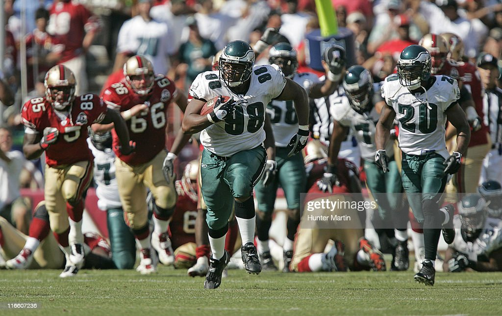 Mike Patterson returns a fumble for a 98 yard touchdown Philadelphia Eagles versus San Francisco 49ers at Monster Park in San Francisco California on...