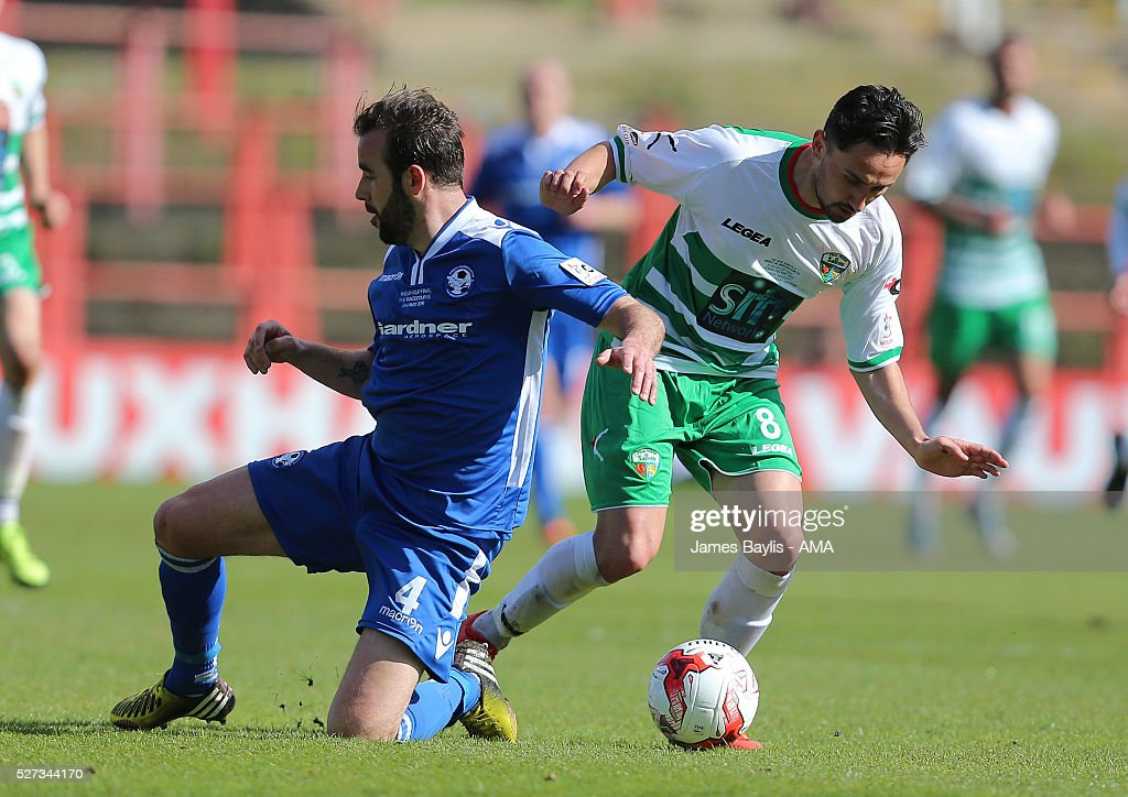 Mike Pearson of Airbus UK Broughton and Ryan Brobbel of The New Saints during the JD Welsh Cup Final match between Airbus UK Broughton and The New Saints at Racecourse Ground on May 2, 2016 in Wrexham, Wales.