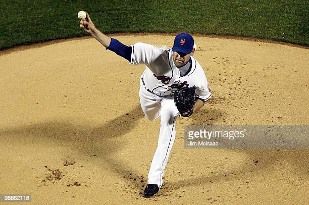 Mike Pelfrey of the New York Mets pitches against the Atlanta Braves on April 25 2010 at Citi Field in the Flushing neighborhood of the Queens...