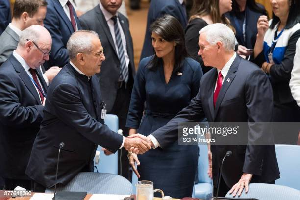 Mike Pence VicePresident of the United States and Nikki Haley US Ambassador to the UN greet José RamosHorta at the Security Council at the United...