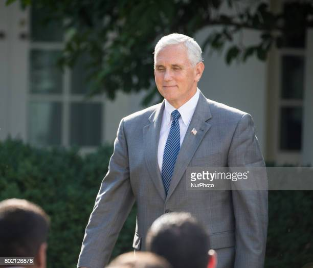 VP Mike Pence was present for President Donald Trump and Prime Minister Narendra Modi of India's joint press conference in the Rose Garden of the...