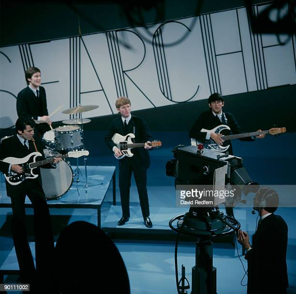 Mike Pender Chris Curtis John McNally and Frank Allen of The Searchers perform on Thank Your Lucky Stars tv show in September 1964