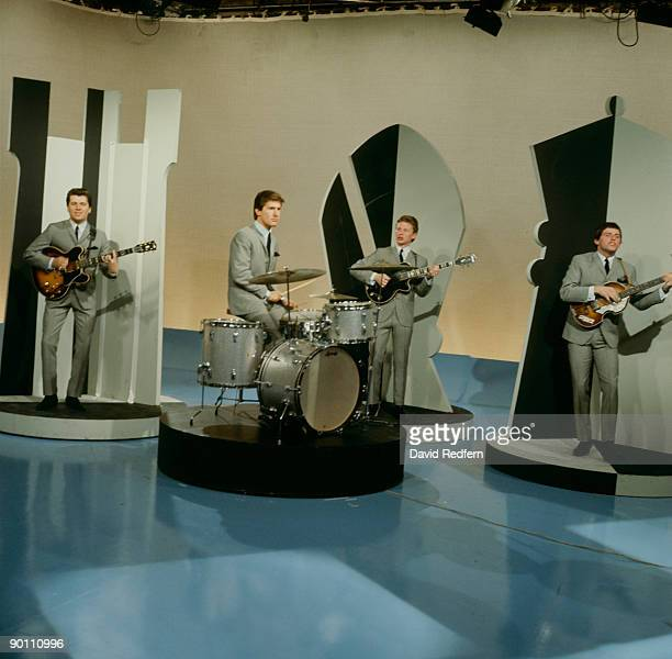 Mike Pender Chris Curtis John McNally and Tony Jackson of The Searchers perform on Thank Your Lucky Stars tv show in 1964