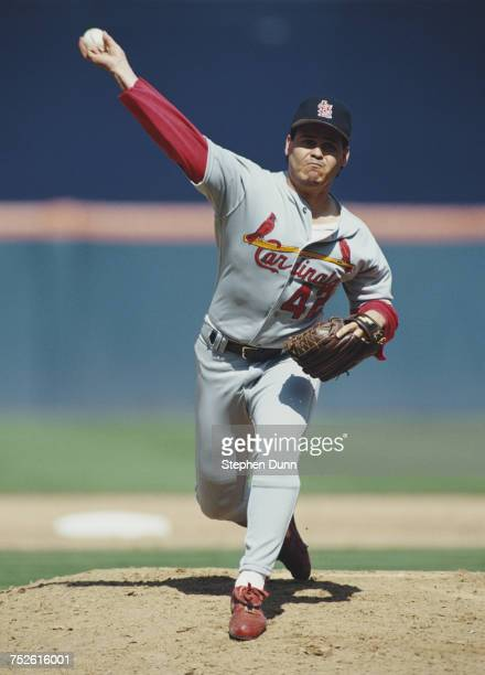 Mike Perez pitching for the St Louis Cardinals during the Major League Baseball National League West game against the San Diego Padres on 25 August...