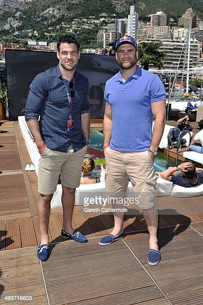 Mike Phillips and Jamie Roberts onboard the Red Bull Energy Station ahead of the Monaco Formula One Grand Prix at Circuit de Monaco on May 24 2014 in...