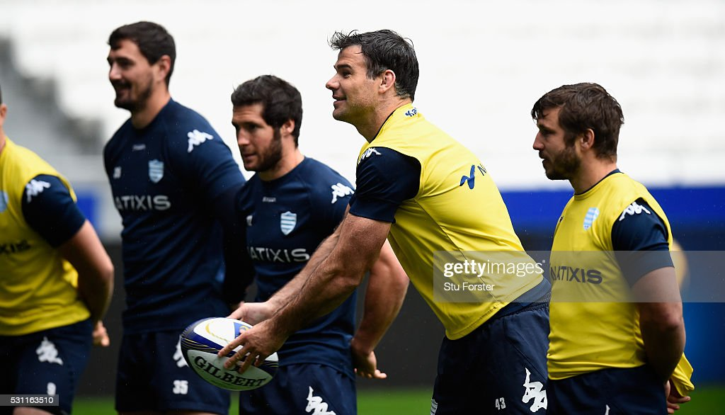 Mike Phillips of Racing (c) in action during the Racing 92 Captain's Run ahead of the European Rugby Champions Cup Final against Saracens at Grande Stade de Lyon on May 13, 2016 in Lyon, France.