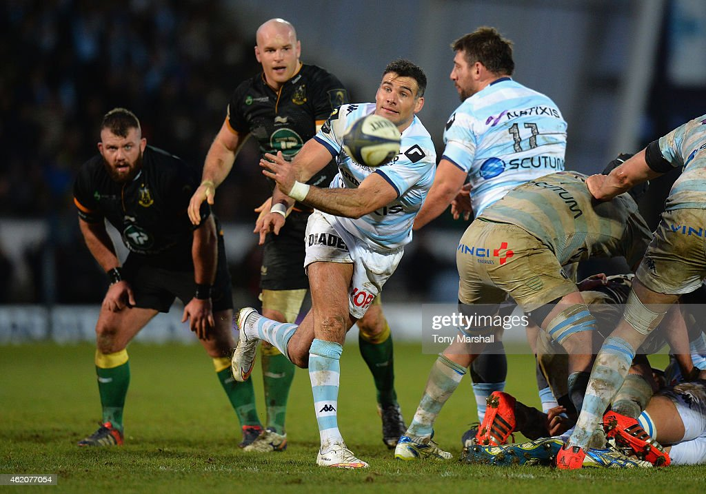 Mike Phillips of Racing Metro 92 during the European Rugby Champions Cup match between Northampton Saints and Racing Metro 92 at Franklin's Gardens on January 24, 2015 in Northampton, England.
