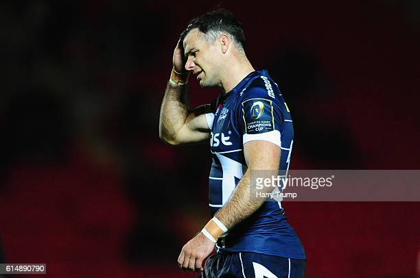 Mike Phillips of Sale Sharks reacts during the European Rugby Champions Cup between Scarlets and Sale Sharks at Parc y Scarlets on October 15 2016 in...