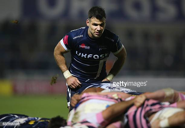 Mike Phillips of Sale Sharks waits for the ball to exit a scrum during the AngloWelsh Cup match between Sale Sharks and Cardiff Blues at AJ Bell...