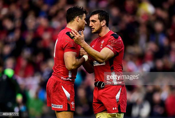 Mike Phillips of Wales and Sam Warburton of Wales celebrate their team's 2623 victory as the final whistle blows during the RBS Six Nations match...