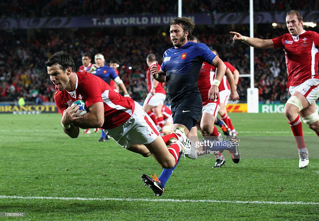 Mike phillips of wales goes over to score their first try during semi