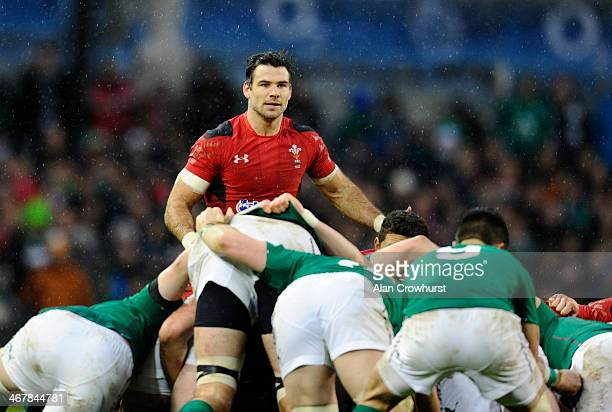 Mike Phillips of Wales keeps an eye on Conor Murray of Ireland during RBS Six Nations match between Ireland and Wales at the Aviva Stadium on...