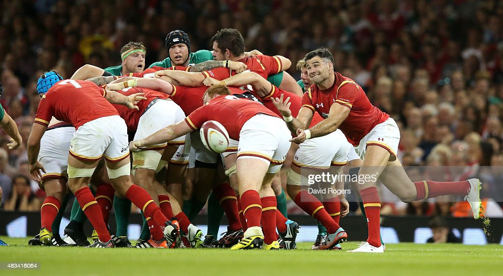 Mike Phillips of Wales passes the ball during the International match between Wales and Ireland at the Millennium Stadium on August 8, 2015 in Cardiff, Wales.