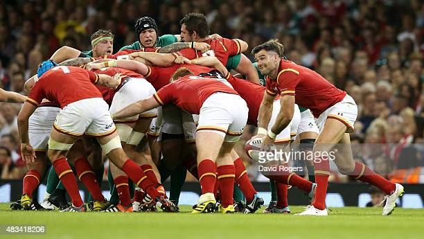 Mike Phillips of Wales passes the ball during the International match between Wales and Ireland at the Millennium Stadium on August 8 2015 in Cardiff...